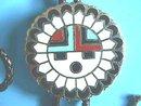 Native American Bola,Tie, Blk Cord,Enam Sign