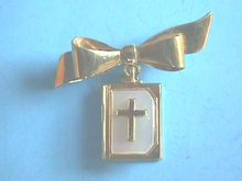 Vintage Bible Pin,Bible Pages,MOP,Locket,Bow