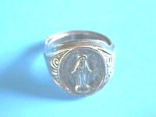 Immaculate Mary Ring,Vint,Silver,Adj,Prayer