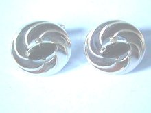 Silver Swirl Cuff Links, Black Navette, Like New!