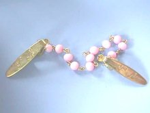 Vintage Sweater Clips,Guards,Pink Beads,G/T
