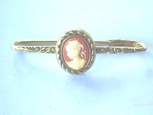 Cameo Bar Pin,Safety,Beautiful Etching,Bezel!