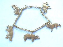 Safari Zoo Bracelet,Dangling Animals,Very Nice
