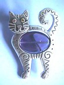 Blue Belly Cat,Pin, Contemporary,Very cute!