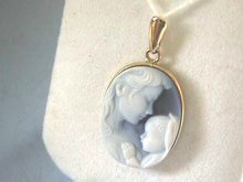 Mother,Child Cameo,Pendant,14K Gold,Precious!