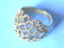 Gold Basket Ring,Weave,14K,Diamond Cut