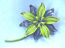 Flower Power Pin,1960s,Blue/Grn,Enameled