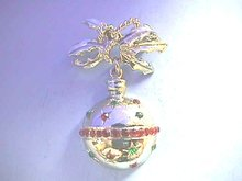 Christmas Ornament Pin,Dangles,Bow,Rd/Grn