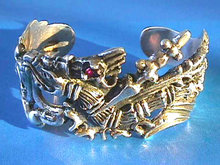 Medieval Sterling Cuff,Dragons,Swords,Amethys