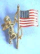 Angel, Flag Pin. Cherub, RWB enamel, Nice!