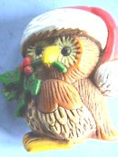 Christmas Owl Pin, Colorful, Plastic, Signed