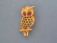 Owl Signed Pin, Garnet color eyes,Gorgeous!