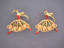 Vintage Ballerina Pins,Pair,R/Ss,Pearls,Enamel