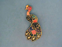 Enameled Peacock Pin, 2 1/2in,R/Ss,Nice!