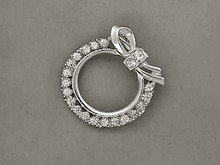 Rhinestone Wreath Pin,Bow,Silver,Brilliant!