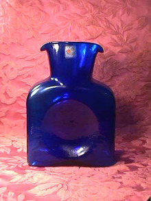 Blenko Cobalt Blue Wtr Pitcher,Label Bk Pc!