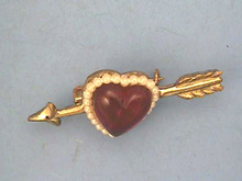 Heart, Arrow Pin,Vintage,Deep Red,Thick!
