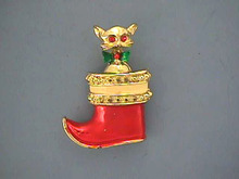 Kitten,Christmas Stocking,Pin,Vintage,Cute!