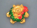 Christmas Teddy Pin,Bear,Enamld Wreath