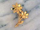 Dbl Flower Pin, Lilac/Gold,R/S Stunning