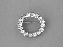 1930s Rhinestone Pin,Circle,Pot Metal,Nice!