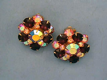 Signed Rhinestone Earrings,Pinks,Purples+