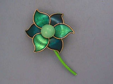 Flower Power Pin,Teal,Blue,Turq,Sgnd,1960