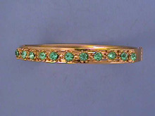 Blue/Green Rhinestone Hinged Bangle,Nice