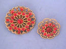 2 Red Pins,Vintage Rhinestone filigree, Nice!