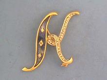 DeNicola 'K' Pin,Script,Enamel,Rhinestones