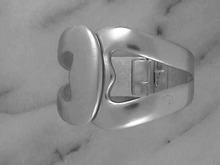 Cr Trifari Silver Cuff,Hearts,Hinged,Matte,old
