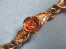 Signed Rose Bracelet,Two-Tone,Vint,Pretty!