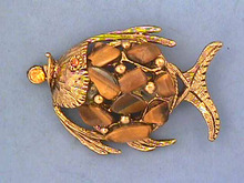 Tigereye Fish Pin,Vint,G/T,Different,Genuine