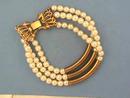 3 Strand Bracelet,G/T,Tube,Pearls,Vintage
