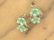 STAR Blue Earrings,Lt Blue,S/T,Molded,R/Ss