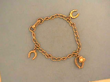 Child's Horseshoe Bracelet,Vintage,Charms