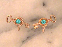 Nemo Key Earrings,Vintage,Blue Stones,Nice!