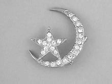Moon Star Pin,Vint,R/Ss,1/4 Moon,Cosmic!