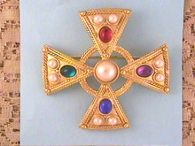 Maltese Cross Pin,Multi-color Cabs,Large!