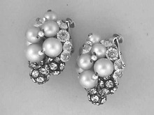 Vendome Vintage Earrings,Crystals+,Silver