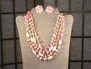 4 Strand Bib Necklace,Earrings, Set,Vintage,Pink!