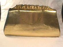 Vintage Gold Clutch,Purse,Handbag,Ruffles!