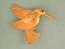 Hummingbird Pin Brooch,Textured,Beauty!