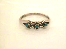 Vintage Turquoise Ring,Sterling,3 Stones