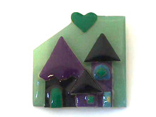 Lucinda House Pin,Hearts,Green/Purple