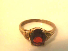 Garnet Gold Ring,14K,Oval,Beautiful!