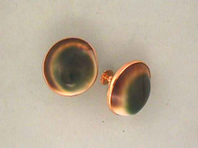 Victorian Operculum Earrings,Cat's Eye,Goldfilled,Screw Back