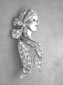 Polcini Pave R/S Gypsy(?) Woman's Head Pin