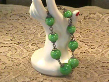 Art Glass Bracelet,Vintage,Green,Sterling