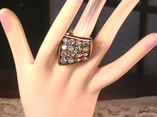 Vint Kerchief Ring,Aurora Bourealis Stones